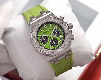 爱彼最新皇家橡树离岸系列彩虹钻计时石英手表