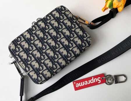 迪奥Oblique印花米色男士斜跨背包 胸包